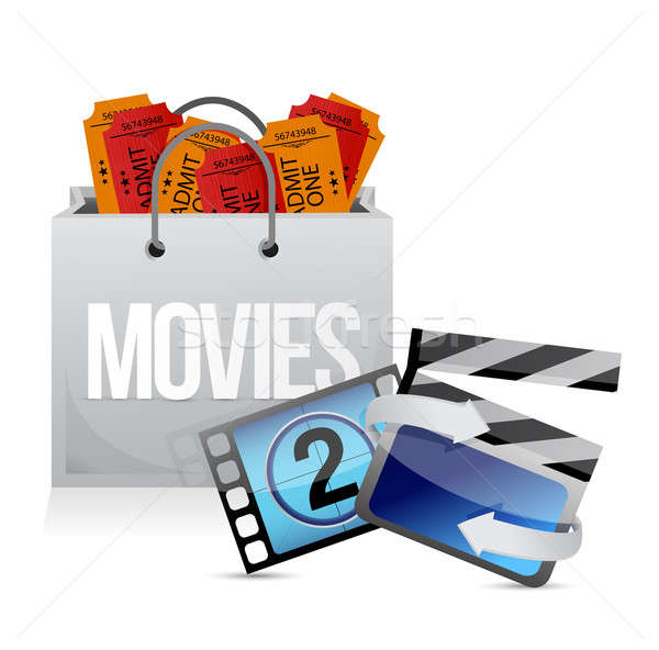 shopping bag with cinema illustration design over white Stock photo © alexmillos