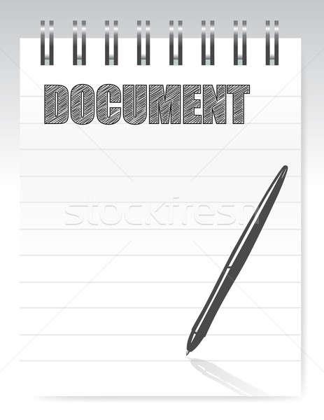 Notepad documento illustrazione design bianco pen Foto d'archivio © alexmillos