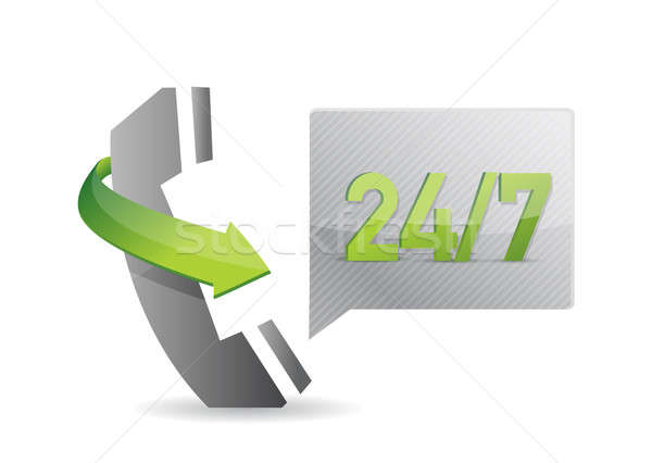 phone 24 7 service illustration over a white background Stock photo © alexmillos