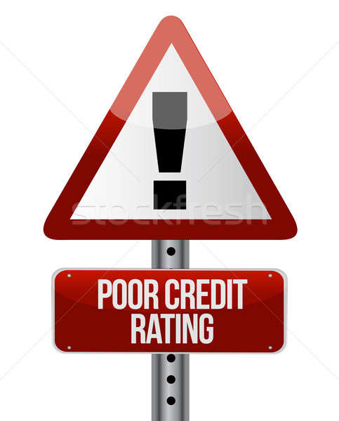 warning sign with a credit rating concept. Illustration Stock photo © alexmillos