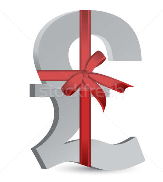 pound currency symbol and ribbon illustration design over white Stock photo © alexmillos