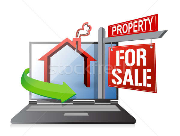 laptop real estate search and buy concept illustration design ov Stock photo © alexmillos