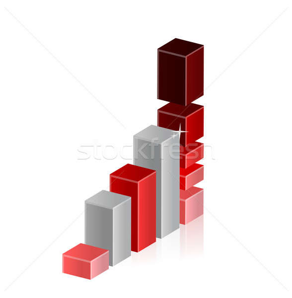 Bar graph moving up to overload and crash  Stock photo © alexmillos