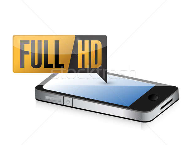 Phone with Full HD. High definition button Stock photo © alexmillos