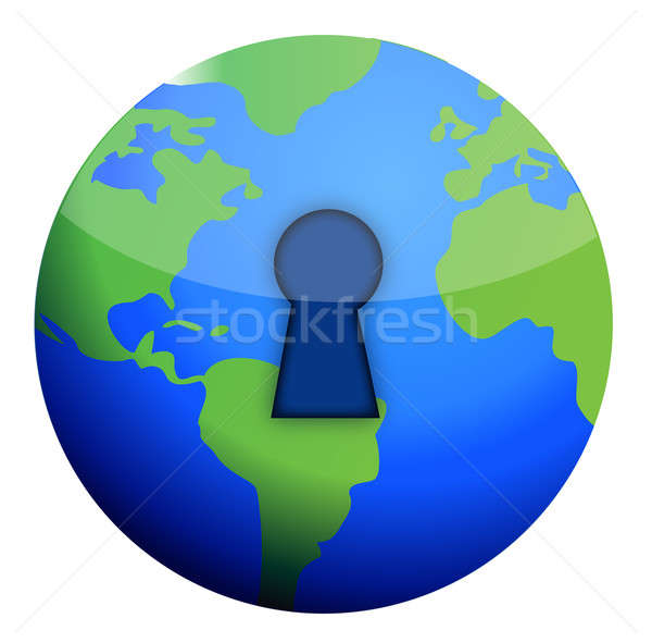 Stock fotó: Zár · földgömb · illusztráció · terv · fehér · munka