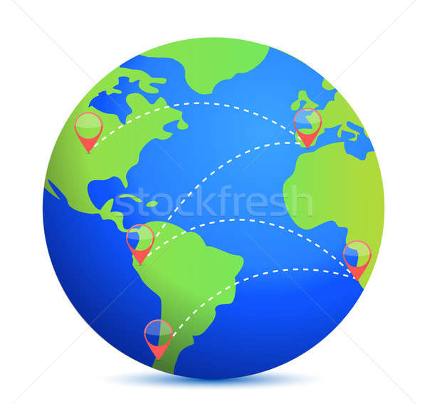 Earth icon and location points illustration design over white Stock photo © alexmillos