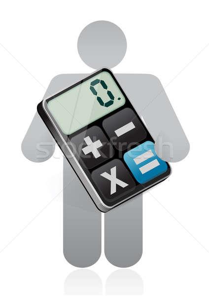 Icon holding modern calculator  Stock photo © alexmillos