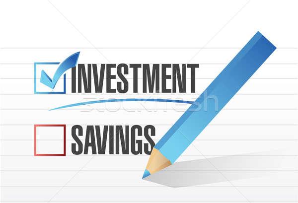 Investment over savings. checkmark illustration  Stock photo © alexmillos