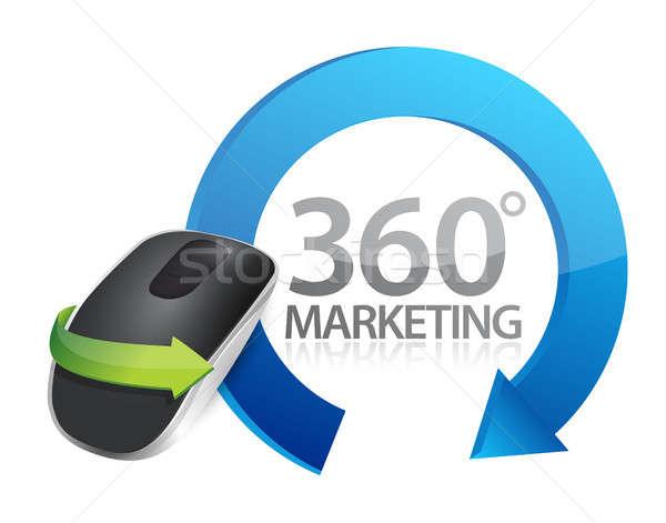 Marketing assinar sem fio mouse de computador isolado branco Foto stock © alexmillos