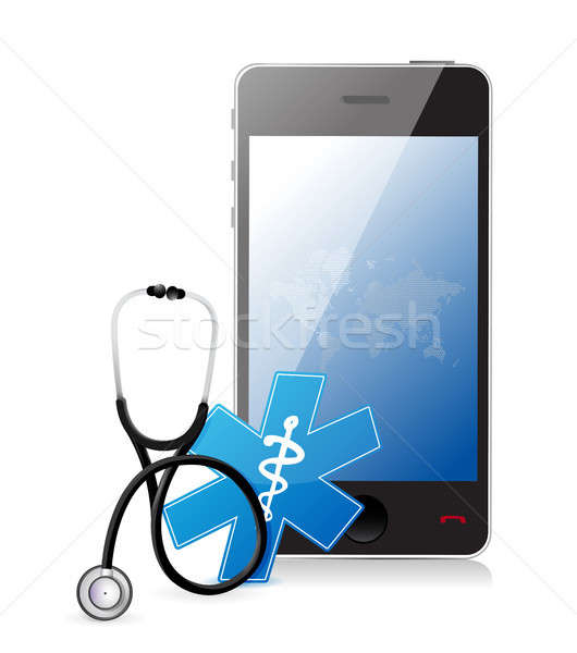 smartphone medical app with a Stethoscope Stock photo © alexmillos