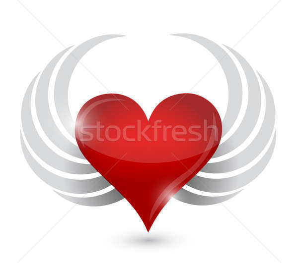 heart illustration design with wings Stock photo © alexmillos