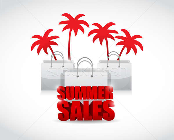 summer sale sign and bags illustration design Stock photo © alexmillos