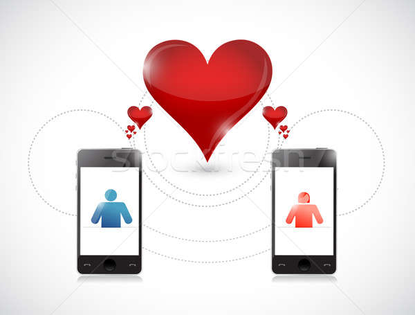 phone . online dating graphic concept. Stock photo © alexmillos