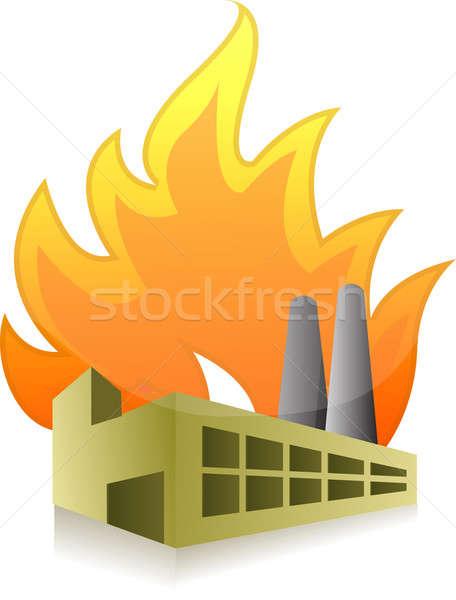 завода огня иллюстрация дизайна белый бизнеса Сток-фото © alexmillos