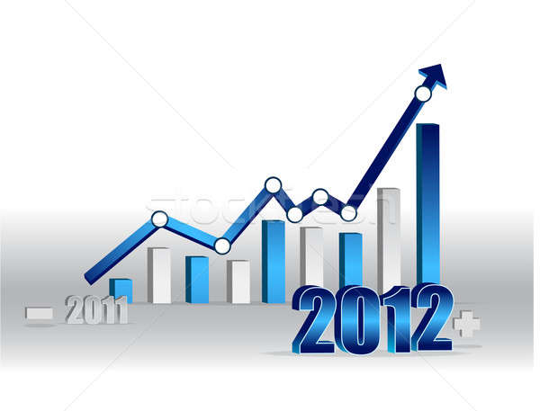 2011 2012 Business graph with world background. Stock photo © alexmillos