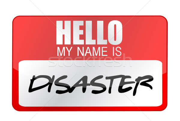 Hello my name is disaster name tag illustration design Stock photo © alexmillos
