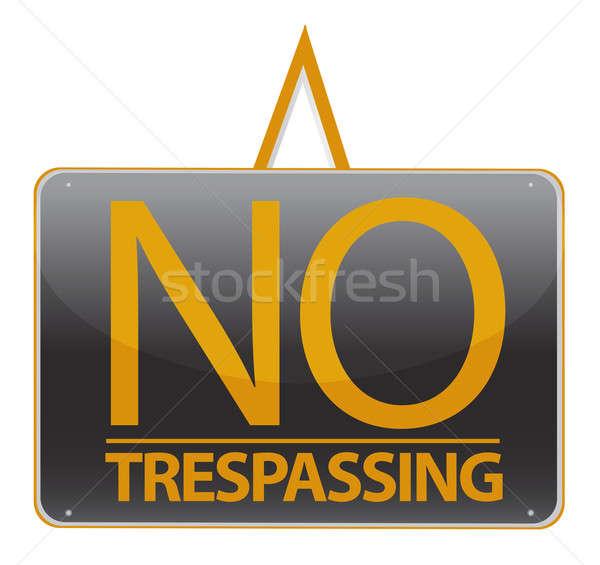 no trespassing sign illustration sign over white Stock photo © alexmillos