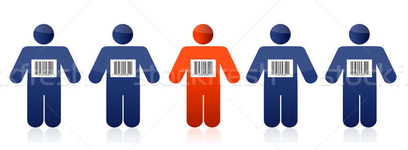 Bar code and people illustration design over white Stock photo © alexmillos