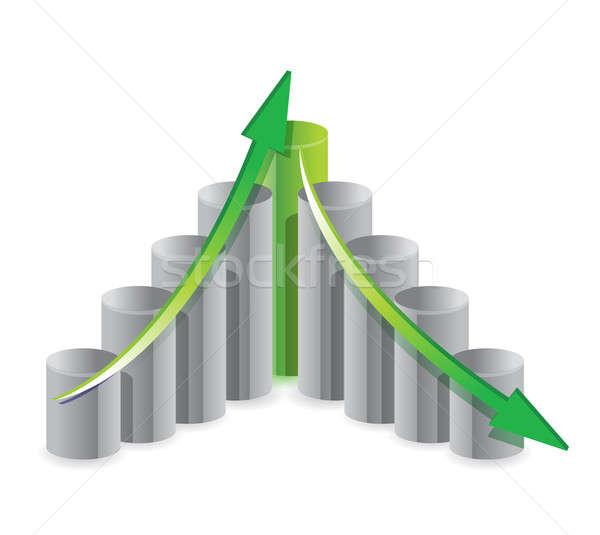 Felfelé lefelé üzleti grafikon illusztráció terv üzlet Stock fotó © alexmillos
