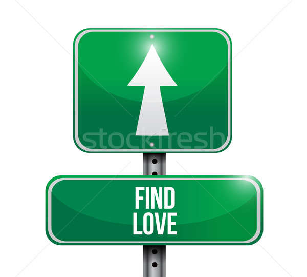 find love road sign illustration design over a white background Stock photo © alexmillos