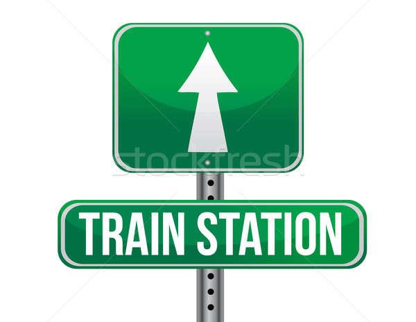 Estação de trem placa sinalizadora metal verde tráfego branco Foto stock © alexmillos