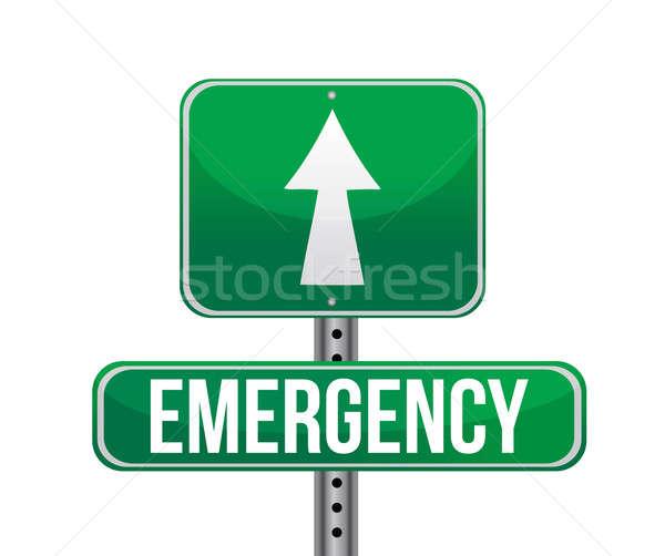 緊急 道路標識 実例 デザイン 白 道路 ストックフォト © alexmillos