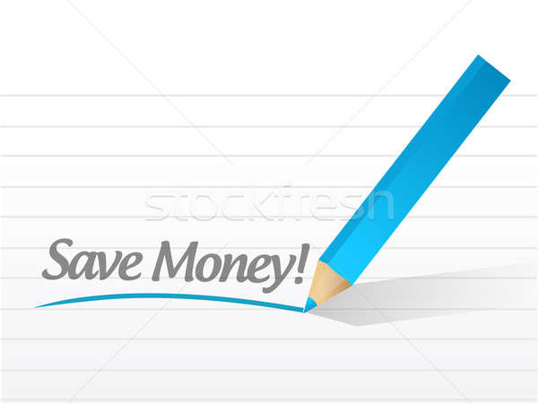 save money written on a white paper. illustration design notepad Stock photo © alexmillos
