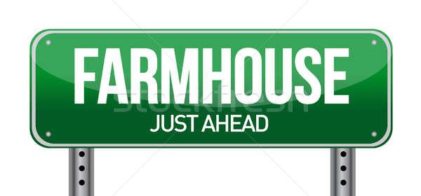 farmhouse road sign illustration design over a white background Stock photo © alexmillos