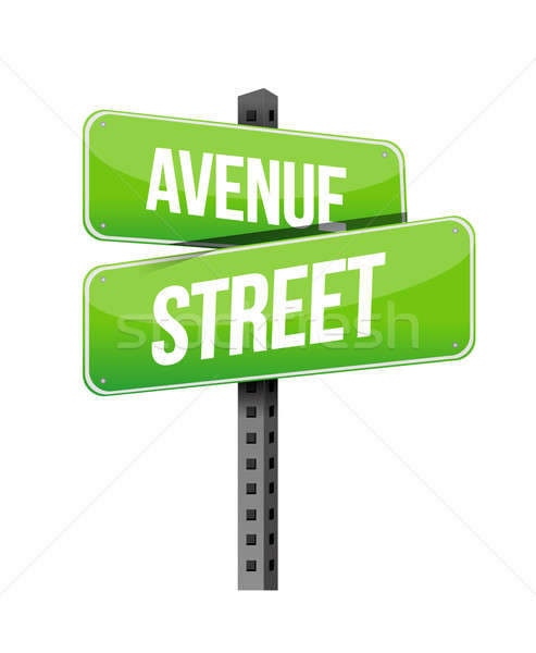 avenue and street road sign illustration design over a white bac Stock photo © alexmillos