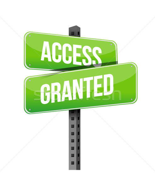Access Granted road sign illustration design over a white backgr Stock photo © alexmillos
