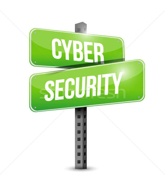 cyber security road sign illustration design over a white backgr Stock photo © alexmillos