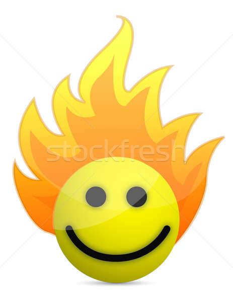 Fuego icono cara feliz ilustración diseno blanco Foto stock © alexmillos