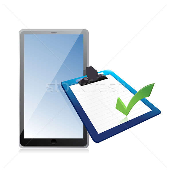tablet and clipboard with checkmark illustration design over whi Stock photo © alexmillos