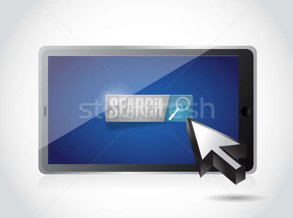 tablet search button and cursor illustration design over white Stock photo © alexmillos