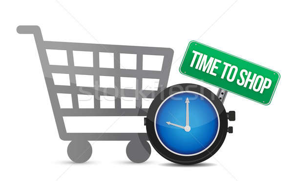 Time to Shop and shopping cart illustration design over white Stock photo © alexmillos