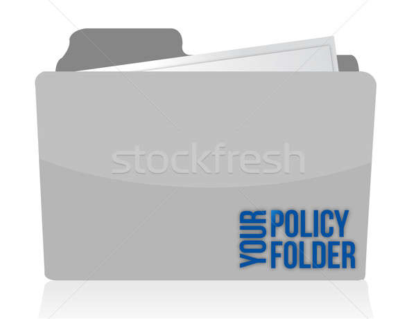 your policy folder illustration design over white Stock photo © alexmillos