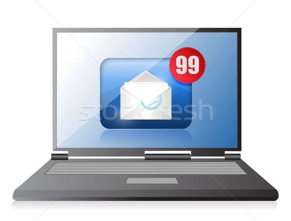Számítógép spam illusztráció terv fehér üzlet Stock fotó © alexmillos
