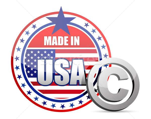 EUA bandera sello derechos de autor signo ilustración Foto stock © alexmillos