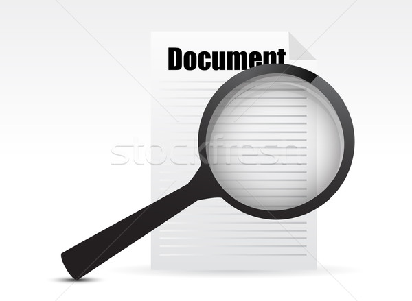 Magnifying glass - Search the document illustration design Stock photo © alexmillos