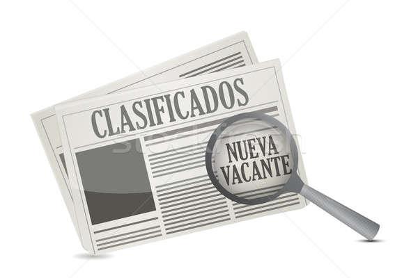 job opportunity on a Newspaper in Spanish illustration design ov Stock photo © alexmillos