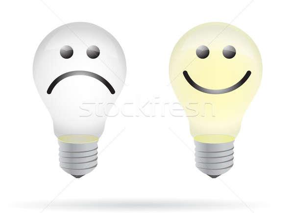 Happy and bad lightbulb illustration design Stock photo © alexmillos