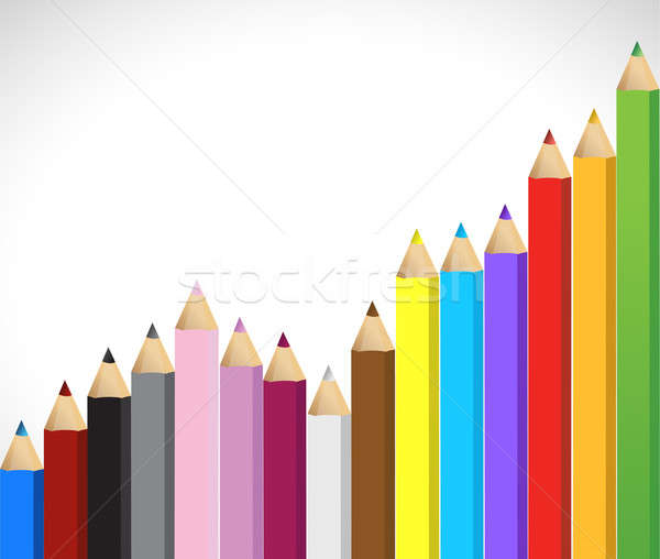 Colored pencils growing business graph Stock photo © alexmillos