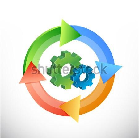 icon cycle illustration design over white background Stock photo © alexmillos