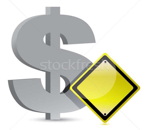 dollar warning yellow sign illustration design over white Stock photo © alexmillos