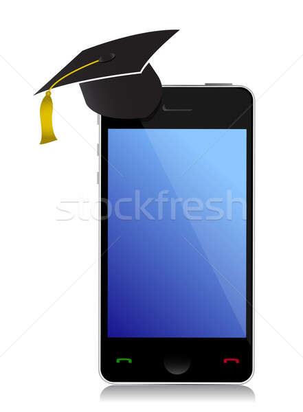 Phone with graduation hat Stock photo © alexmillos