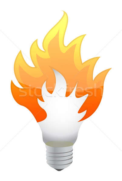 Lightbulb on fire Stock photo © alexmillos