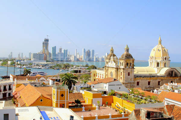 Historic center of Cartagena, Colombia with the Caribbean Sea Stock photo © alexmillos
