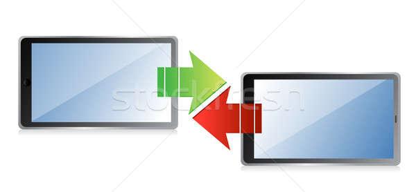 tablet transferring information concept Stock photo © alexmillos