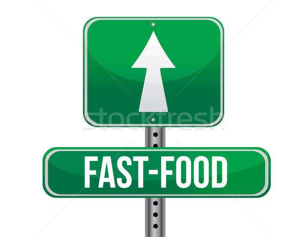 fast food road sign Stock photo © alexmillos