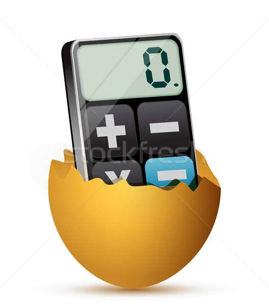 broken egg and modern calculator Stock photo © alexmillos